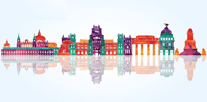 Madrid detailed skylines. vector illustration